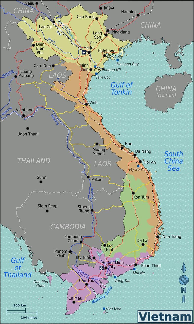 Karte Regionen von Vietnam